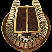 Vintage Southwestern Hopi Style Sterling Silver Belt Buckle - 102.1 Grams