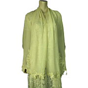 1920's Vintage Embroidered And Appliqued Silk Chiffon Crepe Evening Stole / Shawl