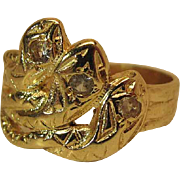 Vintage 14K Yellow Gold Three Snake Ring With Diamonds
