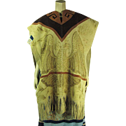 Remarkable 1970's Three Tone Fringed Suede Poncho With Burned Native American Designs