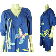 Whimsical 1970's Vintage Ramona Rull Applique Dress