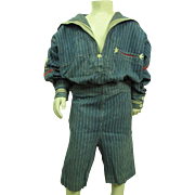 Charming Antique Circa 1900 Child's Blue And White Two Piece Sailor Suit