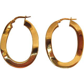 Vintage 14K Yellow Gold Wavy Hoop Earrings With Hinged Wires