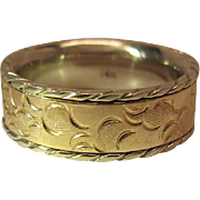 Heavy Vintage Two Color 14K Gold Carved Band Style Men's / Unisex Ring - 13.7 Grams