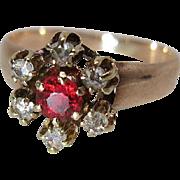 Antique Victorian 14K Gold Rose Cut Diamond And Garnet Halo Ring