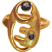 Vintage 18K Yellow Gold And Blue Sapphire Modernist Ring