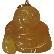 Vintage 14K Gold Mounted Carved Mutton Fat Nephrite Jade Buddha Pendant