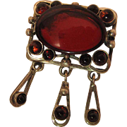 Vintage Polish Sterling Silver And Mirrored Glass Pendant - Brooch