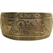 Portentous Vintage Sterling Silver Petroglyph Cuff Bracelet