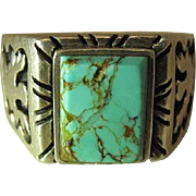 Vintage Navajo Sterling Silver Ring With Carved Thunderbird Shoulders Size 12.5