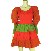 1960's Vintage Fred Leighton Color Block Mini Trapeze Dress