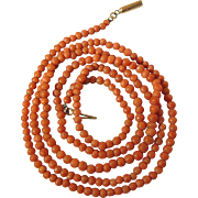 Art Deco Vintage 32 Inch Natural Coral Necklace With Gold Barrel Clasp