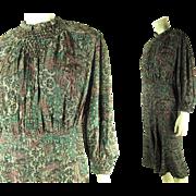 1930's Vintage Paris Modes Headliner Label Printed Silk Dress With Smocking