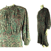 1930's Vintage Paris Modes Headliner Label Printed Silk Dress With Smocking
