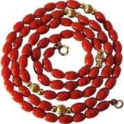 Vintage 14K Yellow Gold And Red Coral Necklace