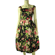 Wonderful 1950's Vintage Sleeveless Rose Printed Silk Faille Dress