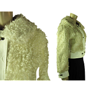 Smart 1970's White Leather And Curly Lamb Cropped Jacket