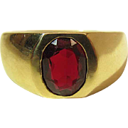 Men's Heavy 14K Yellow Gold Oval 2 Carat Ruby Ring Size 12