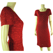 Smart 1960's Cardinal Red Ribbon / Ribbonwork Dress