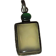 Vintage Sterling Silver Blue Turtleback Chalcedony And Green Chrysoprase Pendant