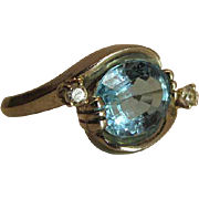 Lovely Vintage 14K White Gold Blue Topaz And Diamond Ring