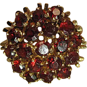 Vintage 14K Yellow Gold Bohemian Garnet Cocktail Ring