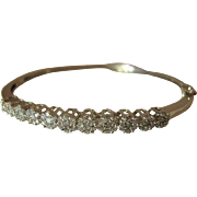Vintage 14K White Gold Diamond Hinged Bangle Bracelet