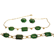 Art Deco Vintage Silver And Chrysoprase Necklace, Bracelet And Post Earrings Set