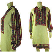 Exotic Art Deco Vintage Bohemian Hand Embroidered Linen Dress