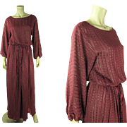 Romantic 1970's Rose Pattern Damask Dress With Elegant Draped Silhouette