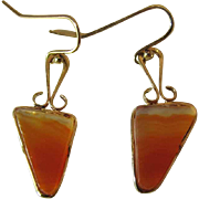Delicate 14K Yellow Gold Banded Agate Slab Earrings With Shepherd Crook Wires