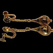 Antique Victorian 10K Gold Taille d'Epargne Enameled Drop Earrings