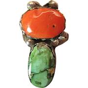 Circa 1940 Vintage Navajo Silver, Turquoise And Coral Ring
