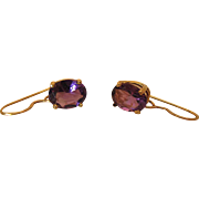 Vintage 14K Yellow Gold Oval Amethyst Dangle Earrings