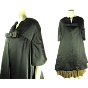 Elegant 1950's Vintage Black Silk Evening Coat With Montaldo's Label