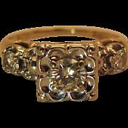 Mid Century 14K Gold Three Diamond Engagement Ring - .60 Carats