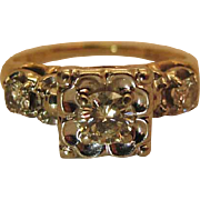 Mid Century 14K Gold Three Diamond Engagement Ring - .60 Carats