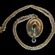 Antique German Hammered Silver And Sodalite Jugendstil / Arts & Crafts Pendant Necklace