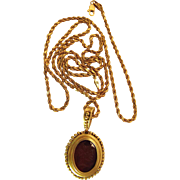 24 Inch Vintage 14k Yellow Gold Rope Chain Necklace With Gold Mounted Carnelian Intaglio Pendant