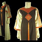 1970's Vintage Josefa Embroidered And Appliqued Dress With Tassel