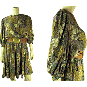 1970's Vintage Printed Silk Dress With Braided Moroccan Leather Belt