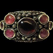Romantic Antique Silver, Almandine Garnet, Pink Sapphire And Amethyst Ring