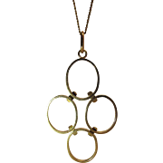 Vintage 14K Yellow Gold Modernist Pendant 2 5/8 X 1 1/2-Inches