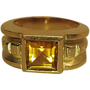 Vintage Art Deco Style 14K Yellow Gold Citrine Ring