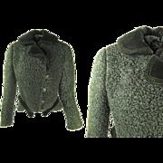 Sculptural Antique Victorian Curly Lamb And Silk Velvet Jacket