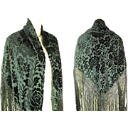 Art Deco Era Black Voided / Devoré Velvet Rose Pattern Fringed Silk Shawl