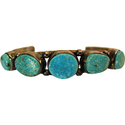 Vintage C. Yazzie Navajo Sterling Silver And Turquoise Cuff Bracelet