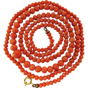 Art Deco Vintage 27-Inch Salmon Coral Necklace With Gold Clasp