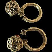 Vintage Sterling Silver Hoop Earrings With Gemstone Encrusted Dangles