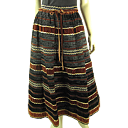 Extraordinary 1970's Vintage Italian Velvet And Raffia Maxi Skirt With Gold Embellishments